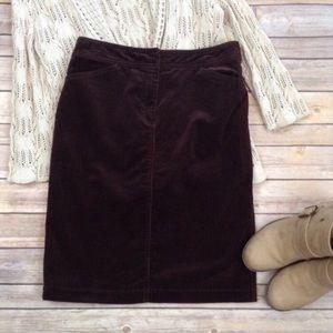 J.Crew brown corduroy skirt with pockets